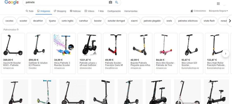 resultados para la busqueda patinetes con Google Imagenes