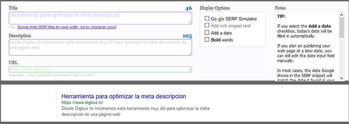 herramienta seomofo, optimizar la meta descripcion