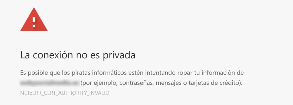 aviso de conexión no es priivada en el navegador