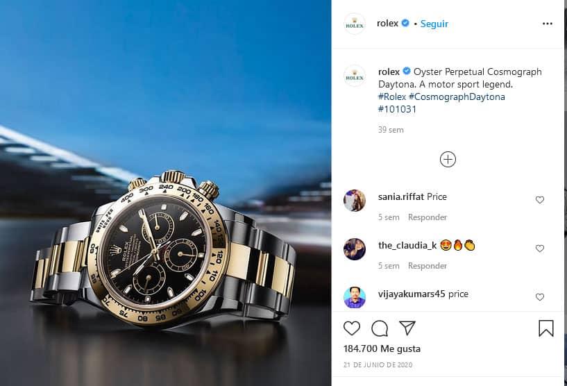Rolex ejemplo de marketing de contenidos en Instagram