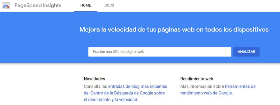 Herramienta para medir velocidad web de Google