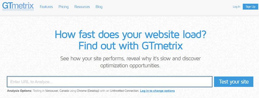 Herramienta medir velocidad carga web Gtmetrix