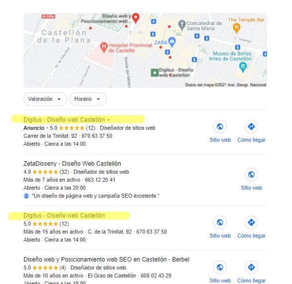 Diseño web en Castellon en Google