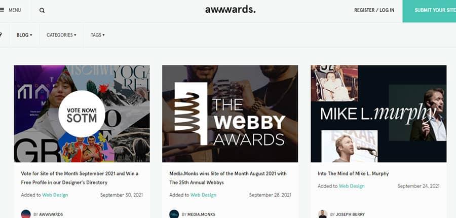 Awwwards blog de diseño web